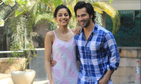 varun dhawan shoojit sircar and banita sandhu promote october