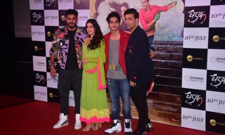 Ishaan Khatter, Janhvi Kapoor, Shashank Khaitan and Karan Johar at the Dhadak Trailer Launch