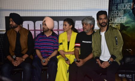 Sandeep Singh, Diljit Dosanjh, Taapsee Pannu, Shaad Ali and Angad Bedi at the Soorma Trailer Launch