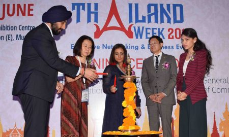 Mumbai June 07 :- Bollywood actress Divya Dutta inaugurated the Thailand Week 2018 at Bombay Exhibition Centre, Goregaon in Mumbai. In pic Mr. Ajit Singh, President Bombay Industries Association, Consul General, Royal Thai Consulate, Mumbai - Mr. Ekapol Poolipat & Executive Director & Consul ( Coomercial ) Royal Thai Consulate, Mumbai - Ms. Suvimol Tilokruangchai & Ms. Gupta. ( pic by Ravindra Zende )
