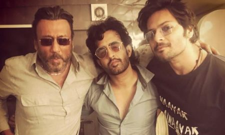 ali fazal and jackie shroff on the sets of prassthanam