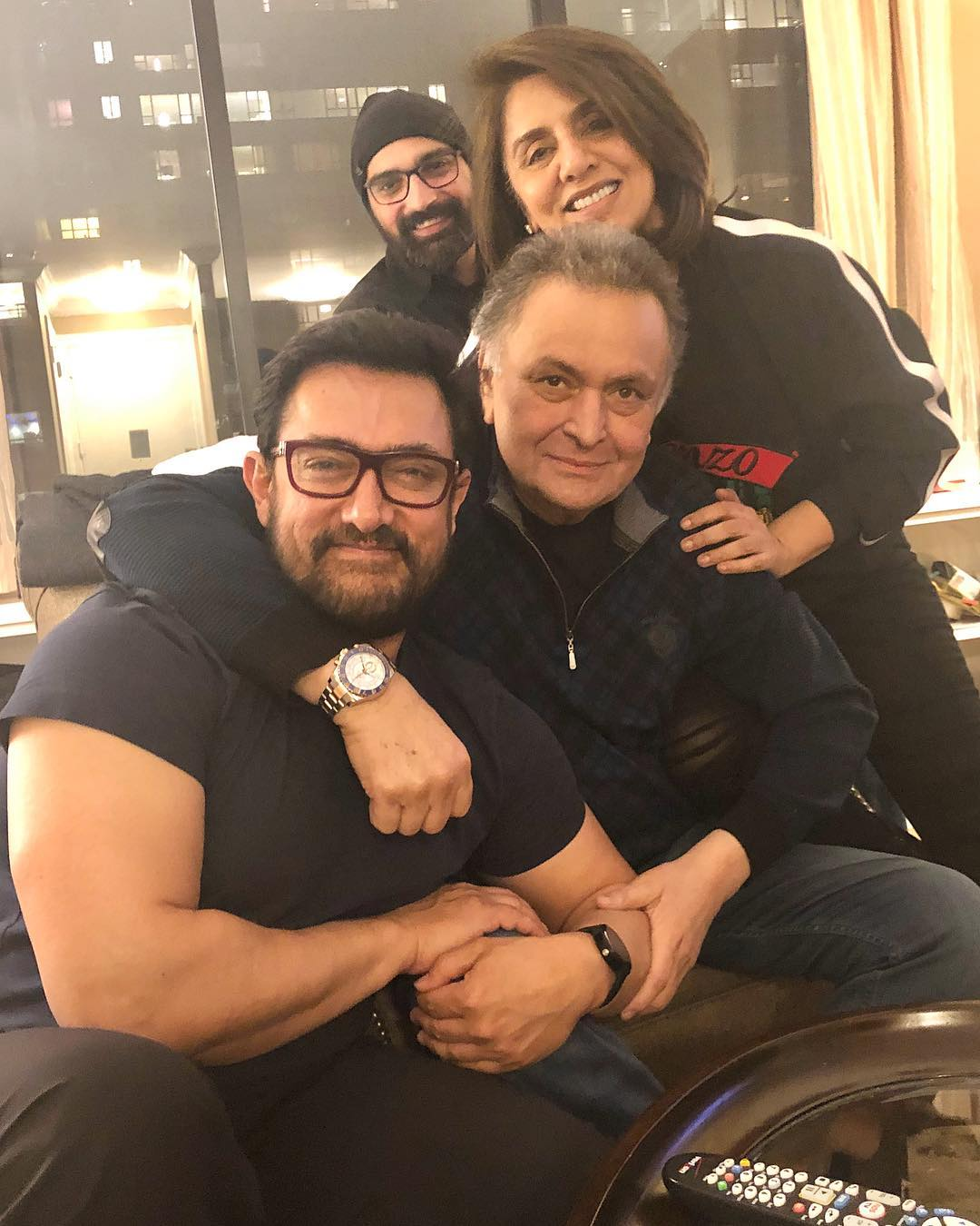 Aamir Khan with Rishi Kapoor and Neetu Kapoor